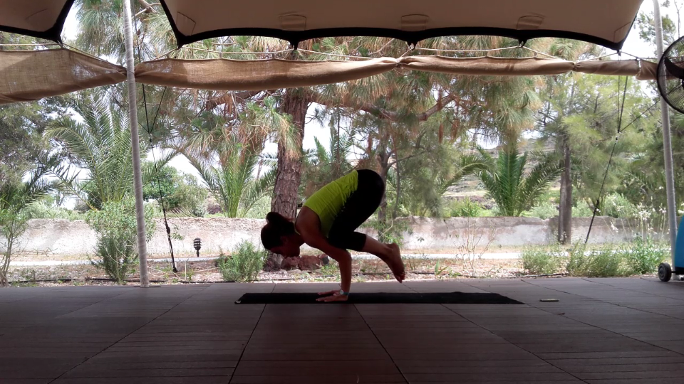 """Bakasana"". Open your upper body and let it go"